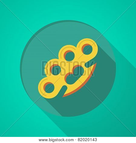 Brass knuckles flat color vector icon