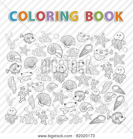 Vector coloring book.Marine life.