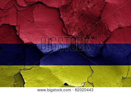 Flag Of Lysychansk Painted On Cracked Wall