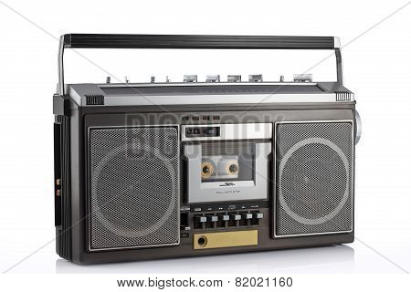 Retro Boom Box Isolated On White With Clipping Path