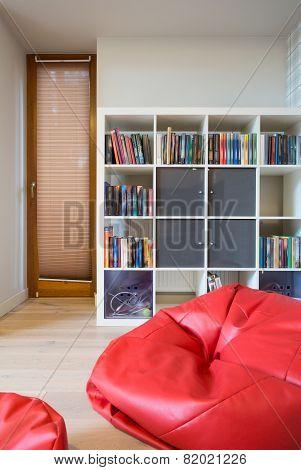 Red Pouf Inside Modern Room