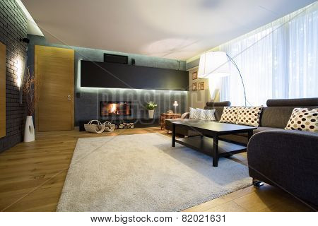 Family Room With Wooden Floor