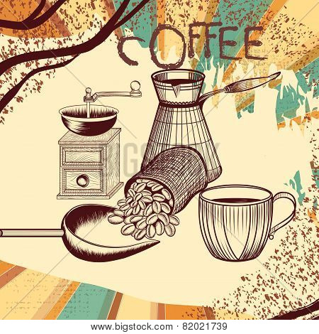 Coffee Retro Poster With Hand Drawn Coffee Mill, Mug And Coffee Grains