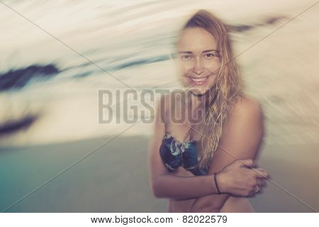 Woman Smiling On Beach Sunset
