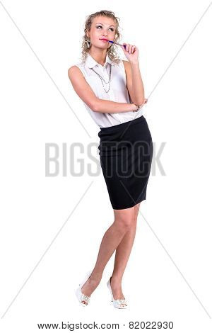 Pensive business woman looking up, isolated on white background.