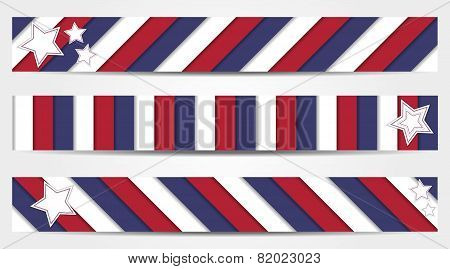Collection Of 3 Striped Banners In Official Colors Of Usa