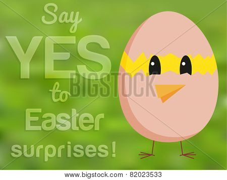 Funny Easter Card With Chicken Looking From Hatched Egg And Text