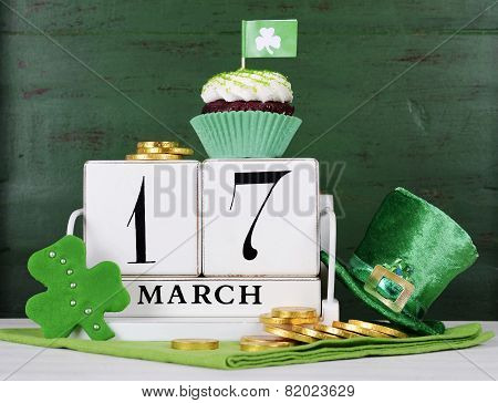 Happy St Patricks Day Save The Date White Vintage Wood Calendar With Cupcakes On Vintage Style Green