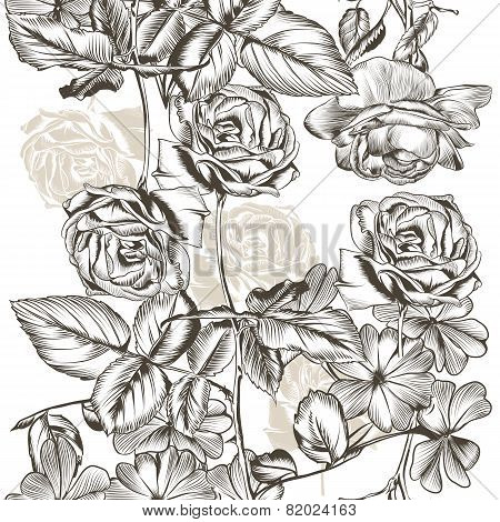 Floral  Seamless Pattern With Roses In Engraved Style