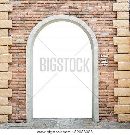 Old Brick Wall With Opened Door