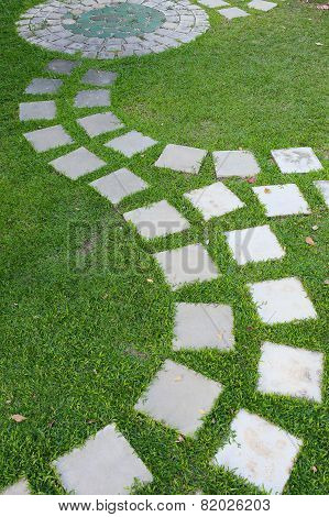 Cement Stone Pathway In Green Grass Garden