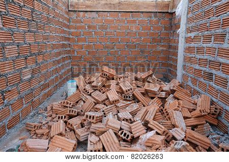 Wall Brick Of Building Construction Site