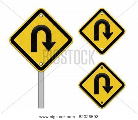 U-turn Roadsign - Yellow Road Sign With Turn Symbol Isolated On White Background