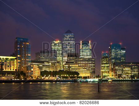Canary Wharf night view, London
