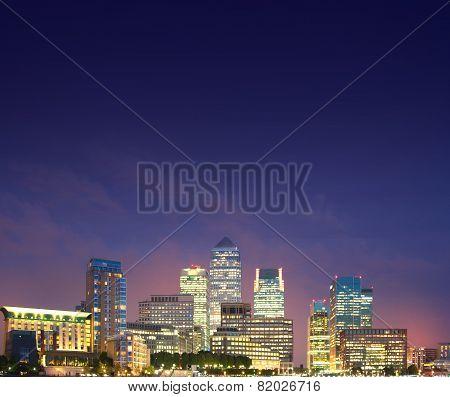 Canary Wharf night view, London