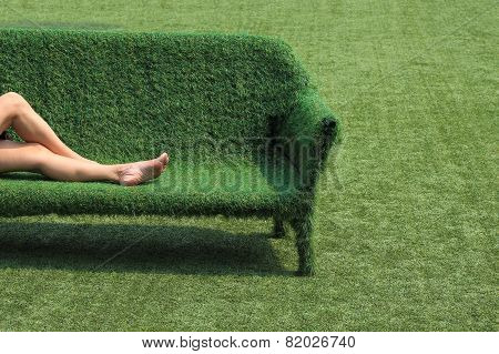Eco Style Of Interior Decoration The Grass Sofa With Green Grass Floor