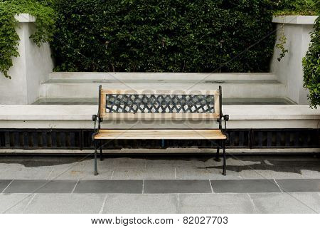 Wooden Classic Bench In The Garden