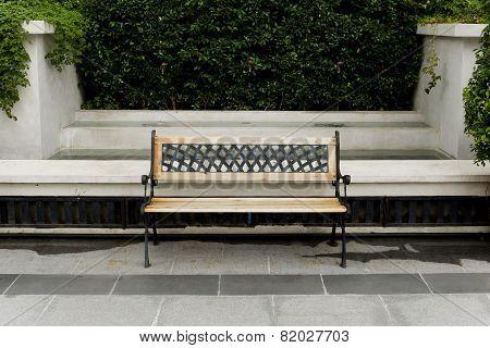 Wooden Classic Bench In The Garden