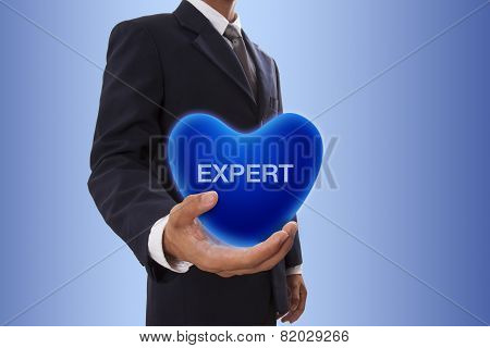Businessman with expert word