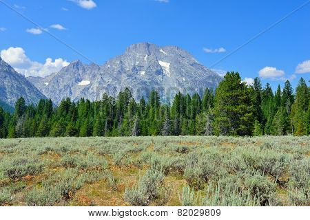 Mountains Of The Grand Teton National Park Near Jenny Lake, Wyoming In Summer