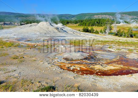Steaming Geyser In Upper Geyser Basin Of Yellowstone National Park, Wyoming