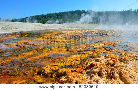 Red Geyser In Upper Geyser Basin Of Yellowstone National Park, Wyoming