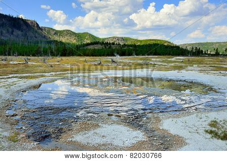 Biscuit Basin In Yellowstone National Park In Summer
