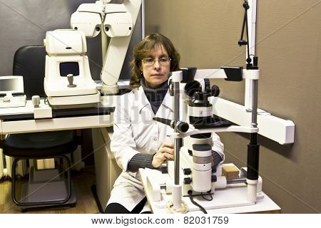 Doctor-ophthalmologist With Medical Apparatus