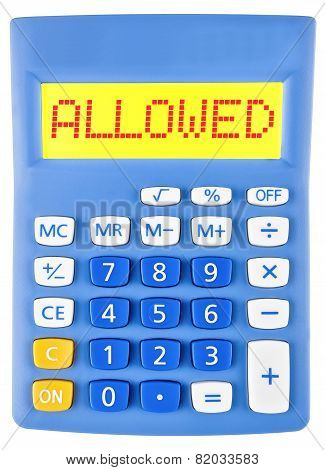 Calculator With Allowed