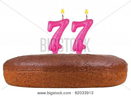 Birthday Cake Candles Number 77 Isolated