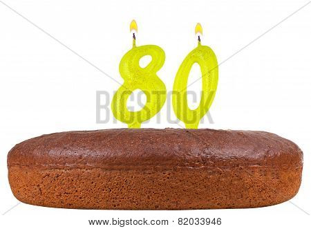Birthday Cake Candles Number 80 Isolated