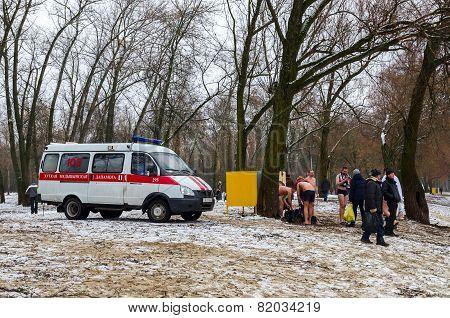 Duty Ambulance Crew At The Venue Epiphany Bathing