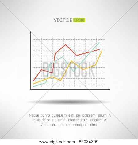 Economic finance graphics chart icon. Market sale diagram graph for presentation. Vector