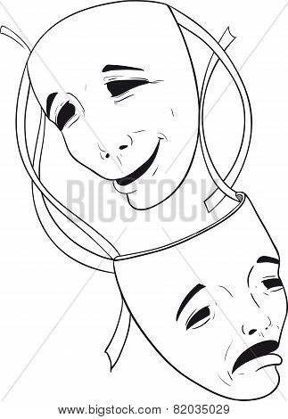 two theater masks