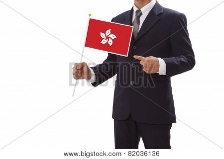 Businessman in suit holding of Hong Kong Flag