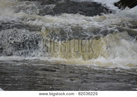 Rapidly Flowing Water On The Winter River