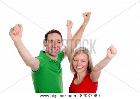 Young Couple With Hands With Arms Up