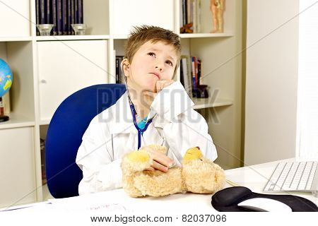 Kid Doctor Checking Up Bear Plush Serious