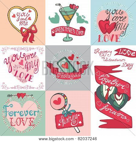 Valentines day card set.Emblems,Labels ,decorative elements