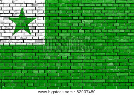 Flag Of Esperanto Painted On Brick Wall