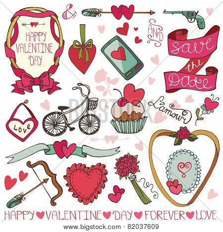 Valentine day,wedding frame,decor elements set