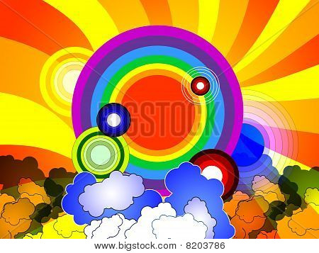 Colorful Background With Rainbow