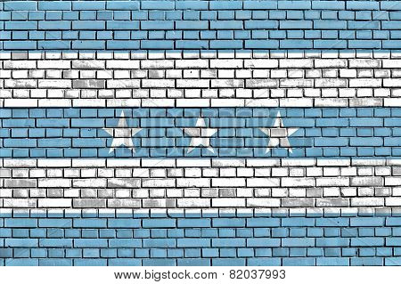 Flag Of Guayaquil Painted On Brick Wall