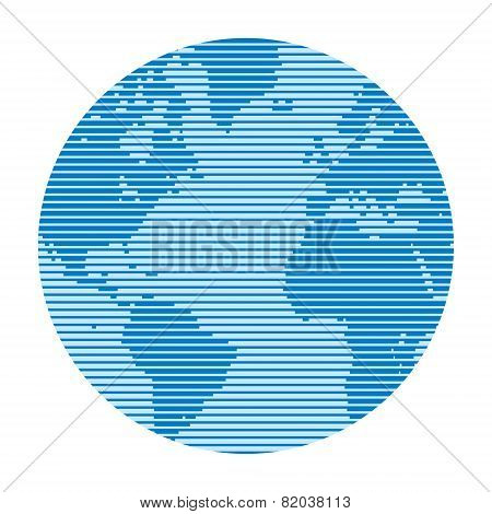 Globe made up of horizontal lines of varying thickness.