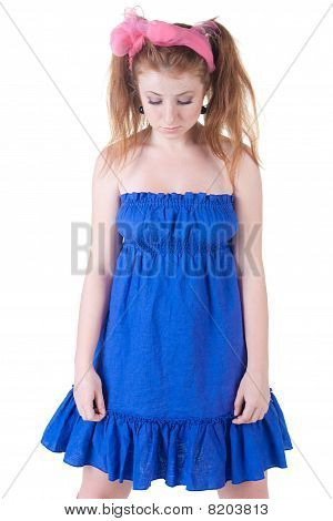Ashamed Girl In  Dark Blue Dress.