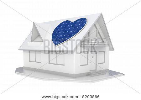 Solar Panel Heart On Roof