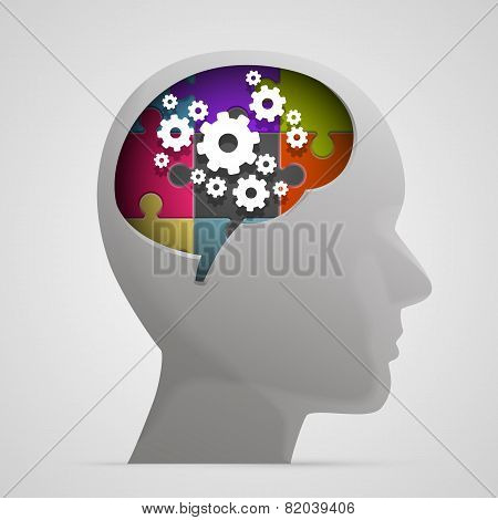 Head with gears in brain