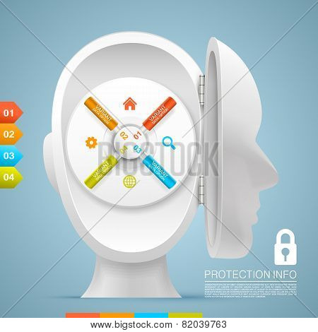 Safe inside the open head. Vector illustration