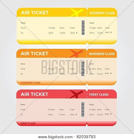Three Classes of Blank Flight Boarding Pass