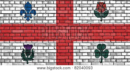 Flag Of Montreal Painted On Brick Wall